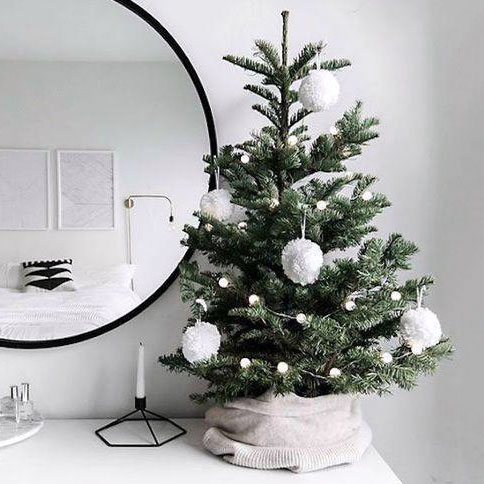 Small Christmas tree with pom-pom ornaments, photo
