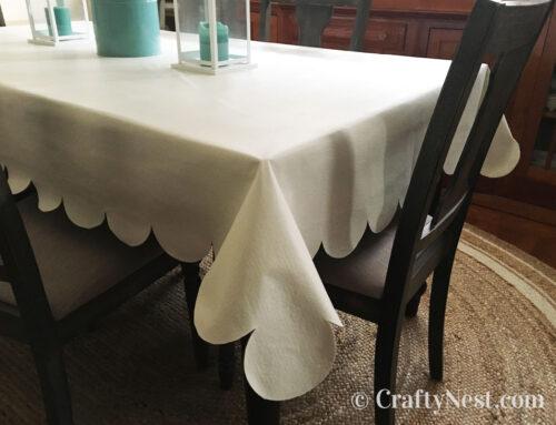 DIY no-sew scalloped tablecloth