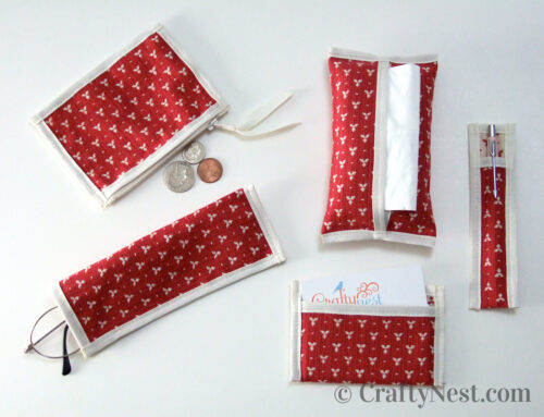 Handbag set: coin purse, tissue pouch, pen sleeve, eyeglasses case, business card pocket