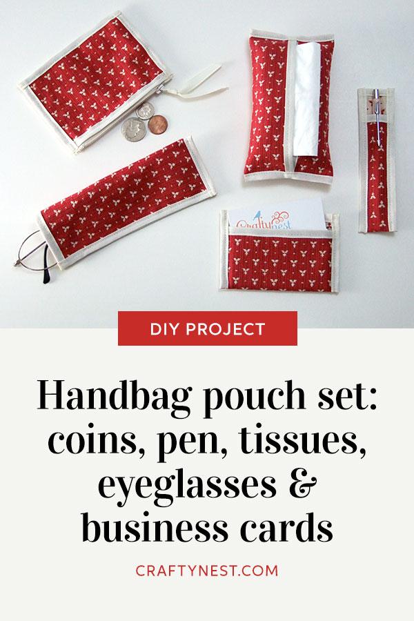 Crafty Nest set of handmade purse pouches Pinterest image