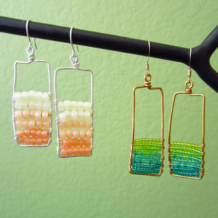 Rectangle beaded earrings, photo