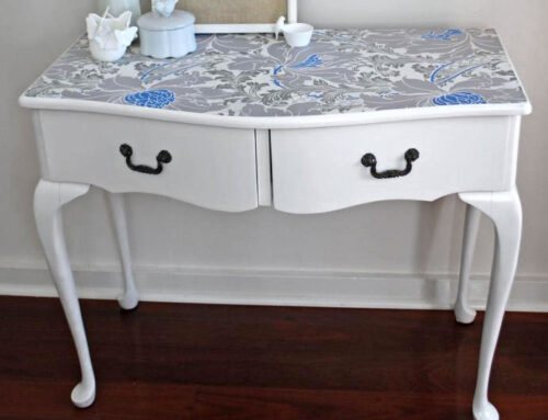 Abby's wallpapered dressing table