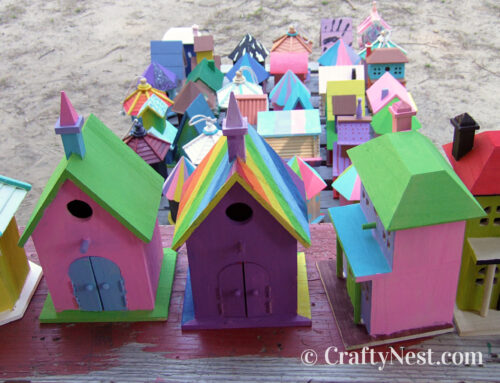 Camp craft: painting birdhouses