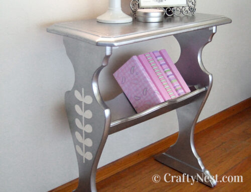 Silver stenciled library side table