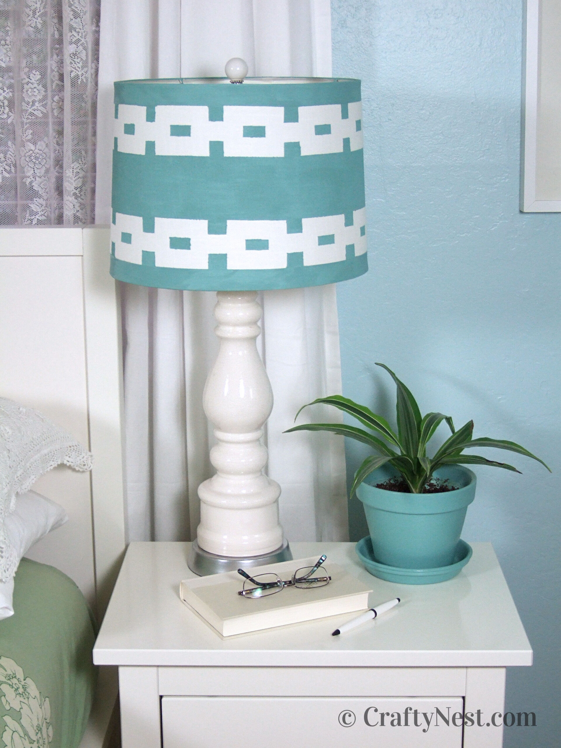 Painted lampshade, lamp, and finial, photo