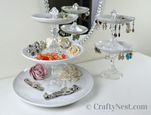 Plates + candlesticks + knobs = tiered jewelry trays