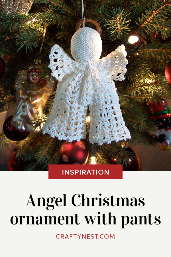 Crafty Nest angel Christmas ornament with pants Pinterest image