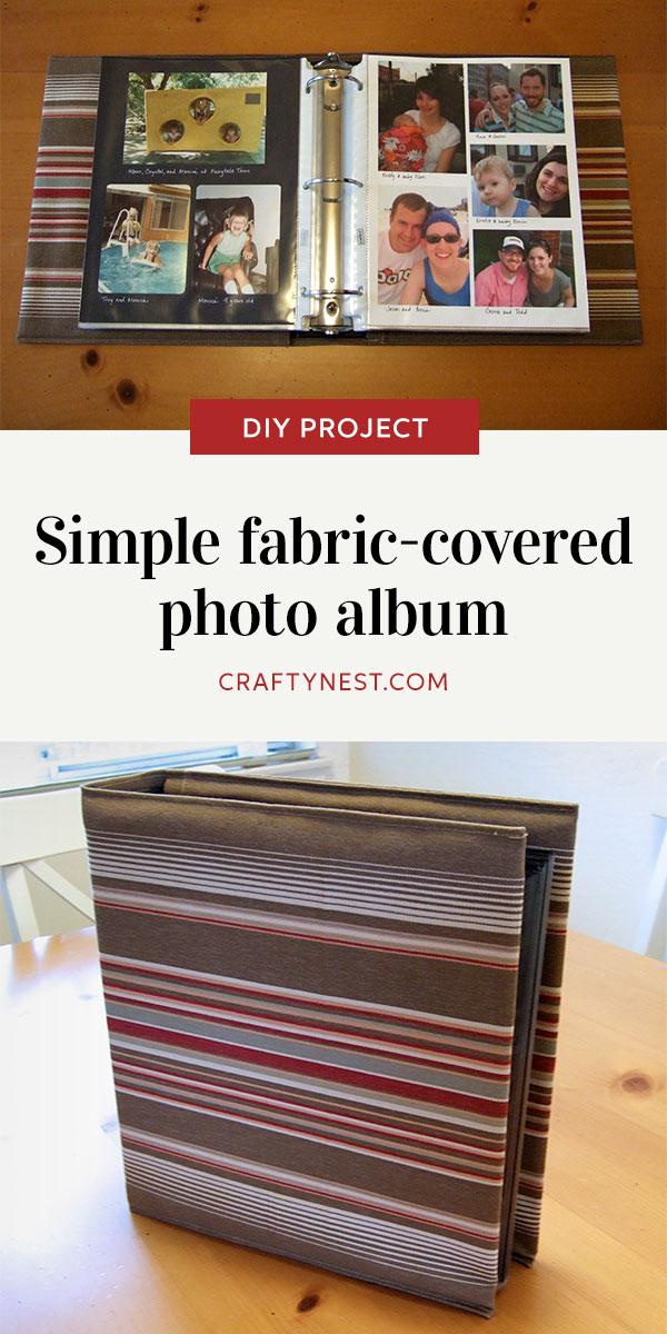 Crafty Nest simple fabric-covered photo album Pinterest image