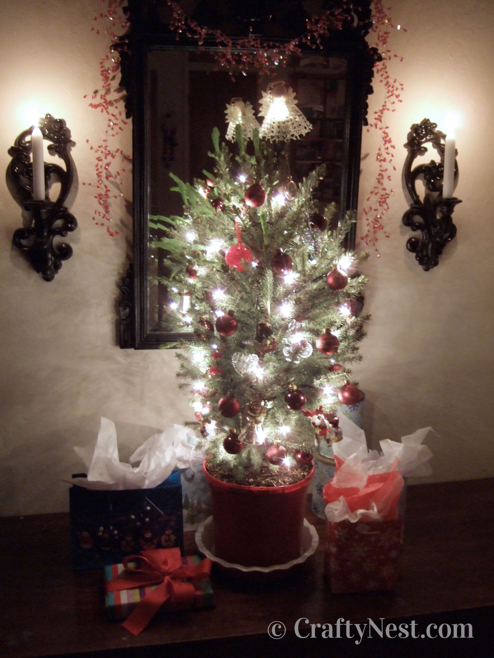 Lights and ornaments on a potted Christmas tree, photo