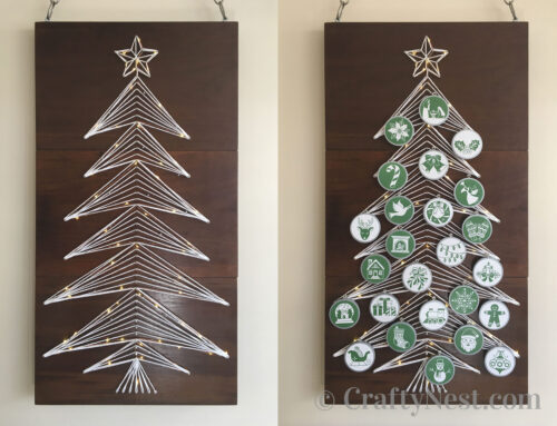 DIY string-art Christmas tree with lights + free pattern