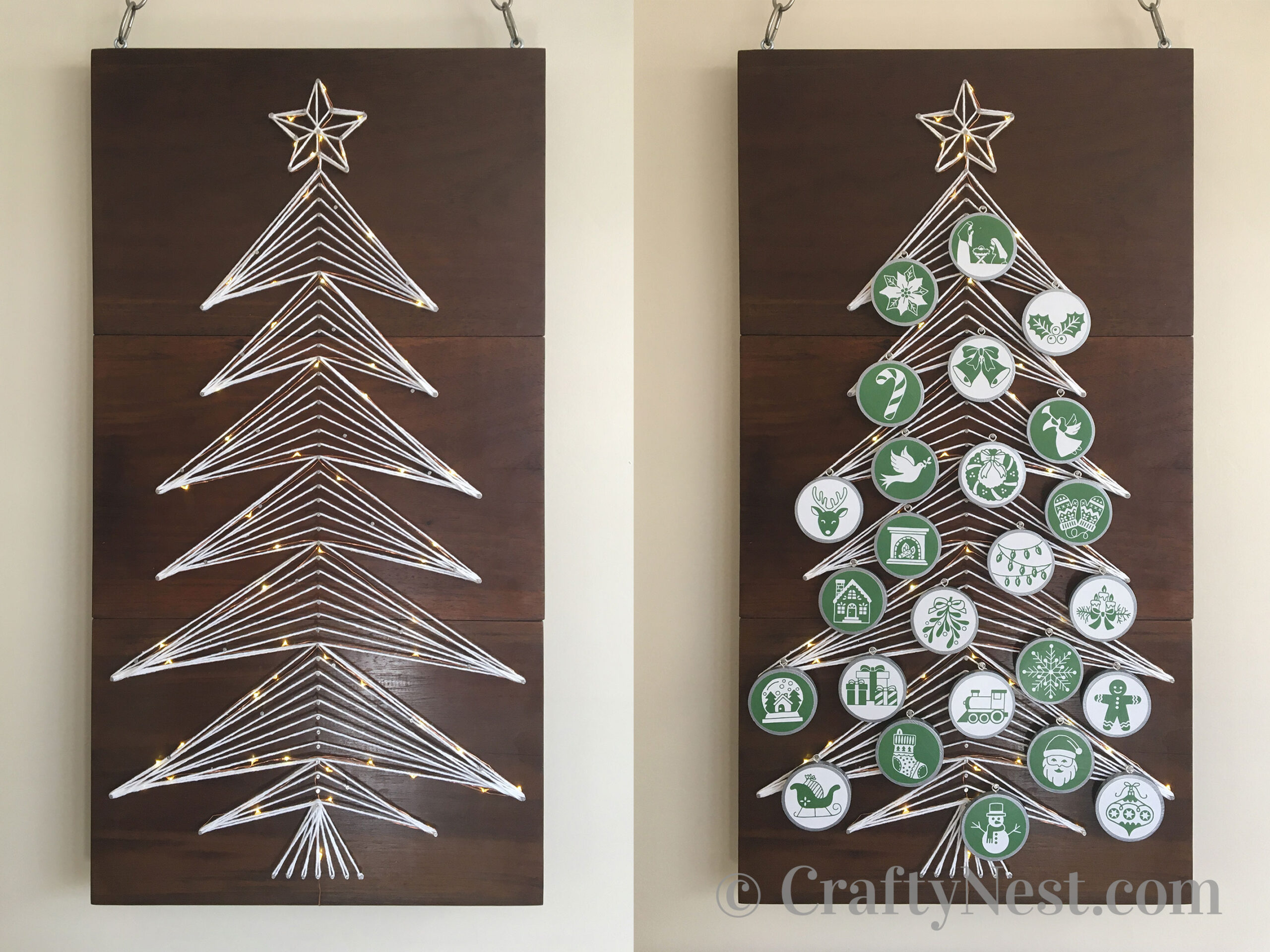 String-art Christmas tree with lights - with and without ornaments - photo