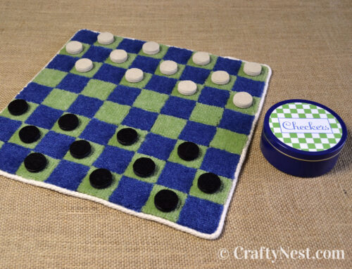 DIY carpet-sample craft: checkers game