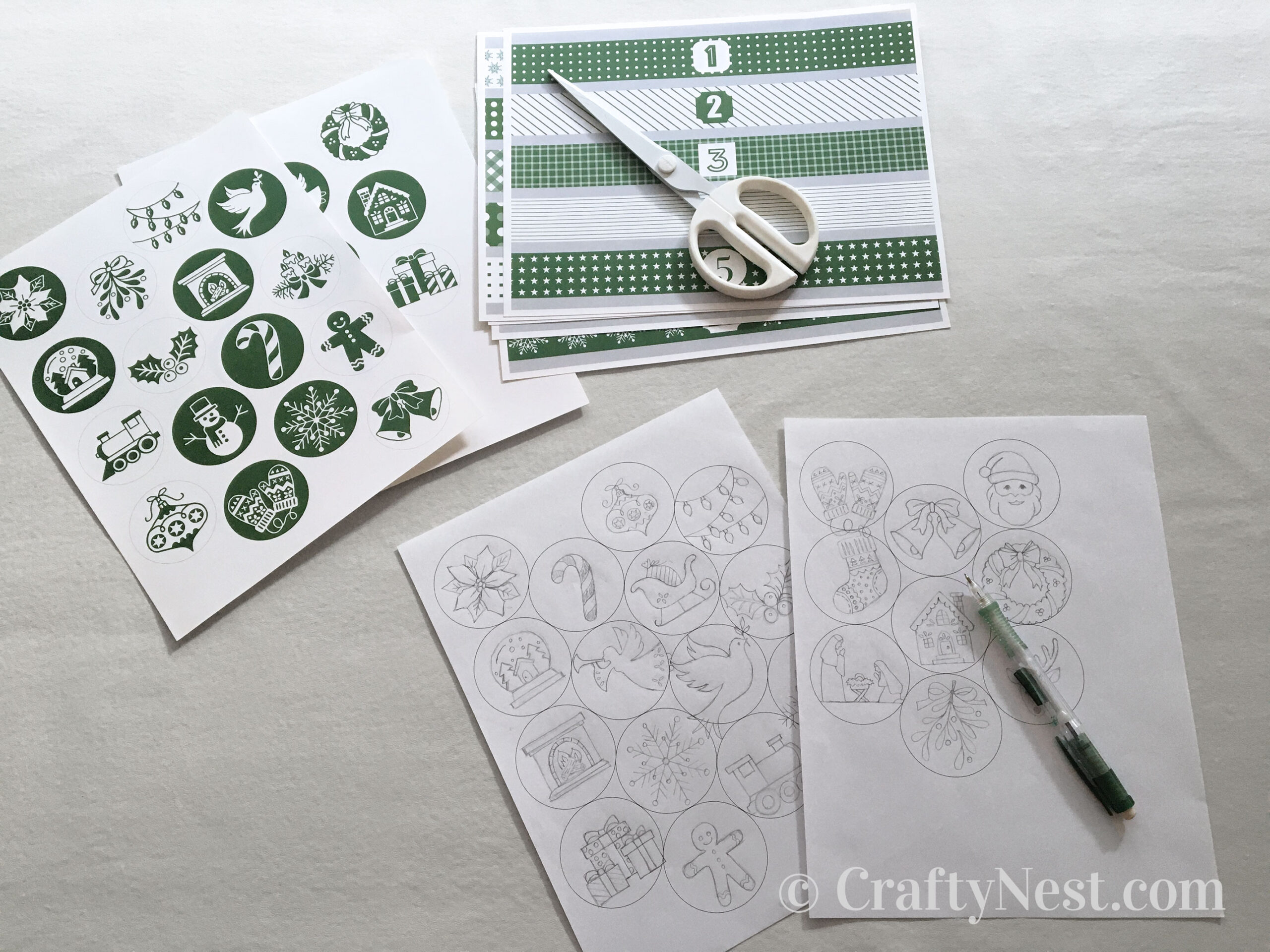 Ornament and tin labels printed out, photo