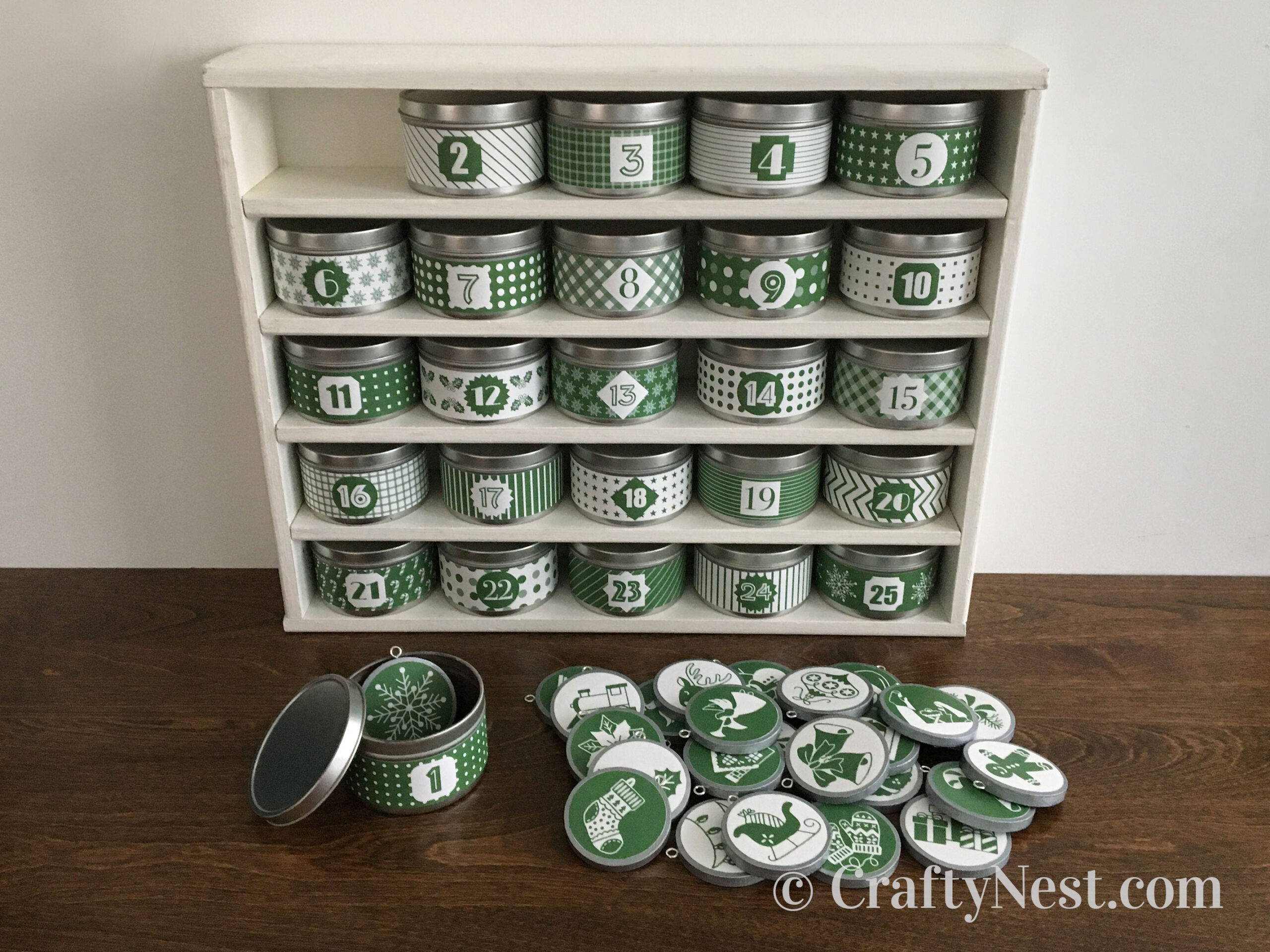 Advent calendar with tins and handmade ornaments, photo
