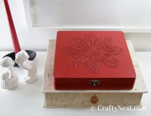DIY red doily matchbox