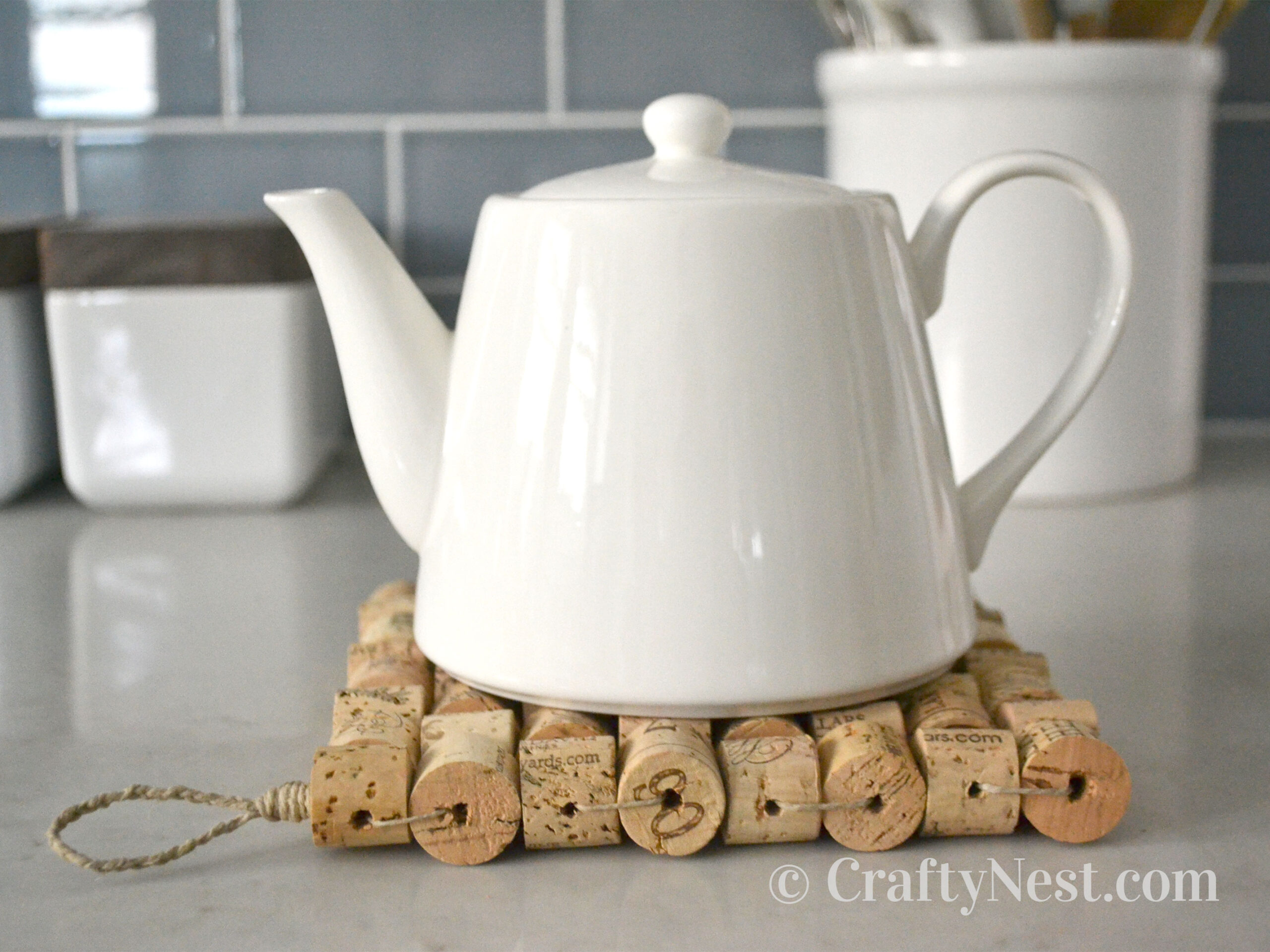 Teapot on a wine-cork trivet, photo