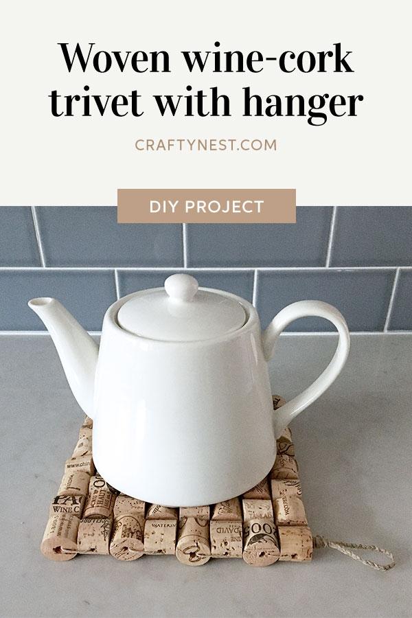 Crafty Nest woven wine-cork trivet Pinterest image