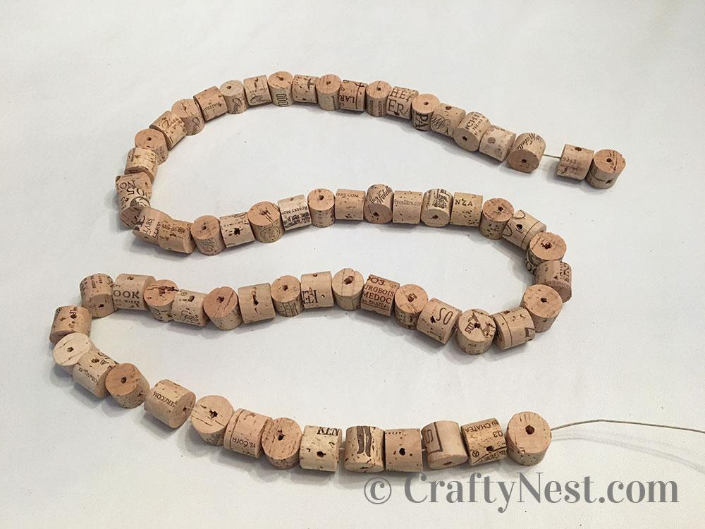Corks strung on a string, photo