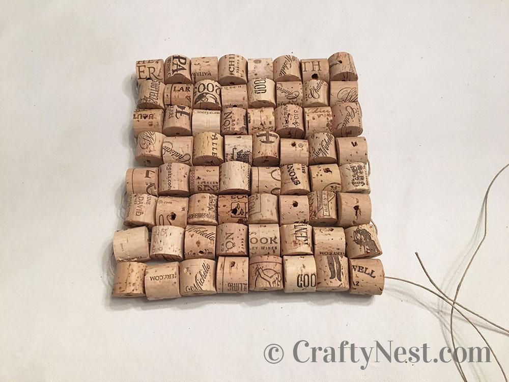 Corks arranged into a square shape, photo
