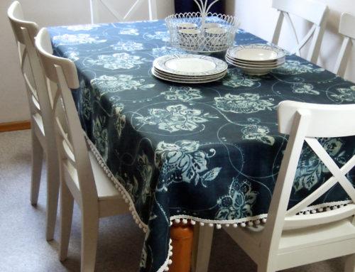 Fabric + pom-pom trim = DIY tablecloth