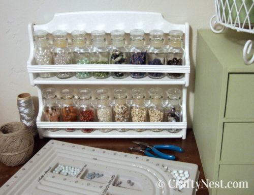 Thrift-store spice rack = DIY bead storage rack