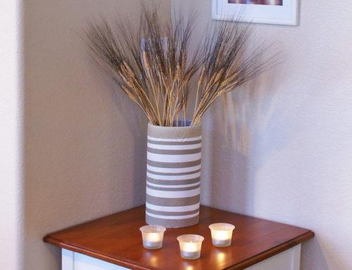 Maria's DIY table, frames, vase & votives redo