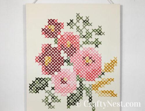 DIY giant cross-stitch on a canvas